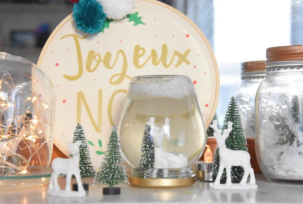 faire une boule à neige avec un pot en verre